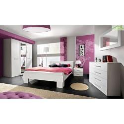 Chambre à coucher adulte complète VICKY II en blanc mat - lit 140x80x200 cm