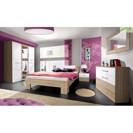 Chambre à coucher adulte complète VICKY II en chêne sonoma et blanc de haute brillance