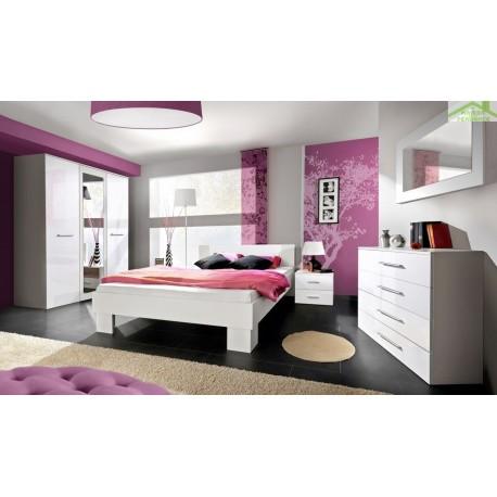 Chambre à coucher adulte complète VICKY II en blanc de haute brillance