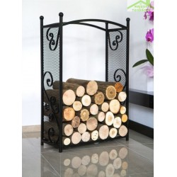 Porte bûches rectangulaire en acier noir 90x60x25 cm