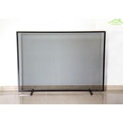 Ecran de cheminée rectangulaire en acier noir 100x72x15 cm