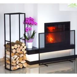 Ensemble range-bûches 120x40x20 cm et écran de cheminée rectangulaire 100x72x15 cm en acier noir