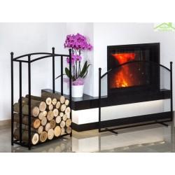 Ensemble rack à bûches rectangulaire 90x60x25 cm et cran de cheminée 100x72x15 cm en acier noir
