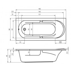 Baignoire acrylique RIHO FUTURE 180x80 cm