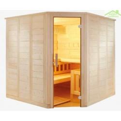 Cabine de Sauna d'angle WELLFUN CORNER de SENTIOTEC 206x206 cm
