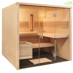 Cabine de Sauna avec infrarouge PANORAMA LARGE INFRA+ de SENTIOTEC 214x210 cm