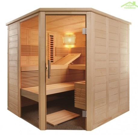 Cabine de Sauna à infrarouge ALASKA CORNER INFRA+ de SENTIOTEC 206x206 cm