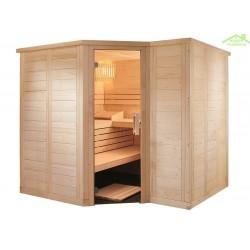 Cabine de Sauna d'angle POLARIS LARGE de SENTIOTEC 234x144cm
