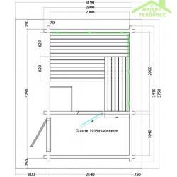 Cabine de Sauna d'extérieur LAVA de SENTIOTEC 341x230 cm
