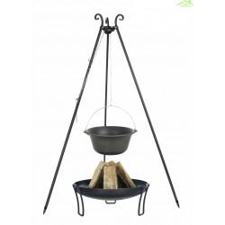 Chaudron pot en fonte avec couvercle sur trépied + brasero PAN