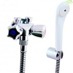 Robinet mélangeur basse pression pour baignoire ou douche en chrome avec douchette