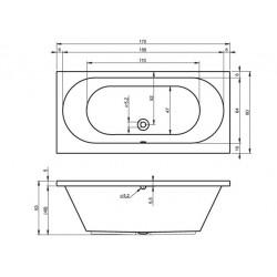 Baignoire acrylique RIHO CAROLINA 170x80 cm