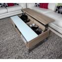 Table basse relevable AZALEA en chêne mélaminé