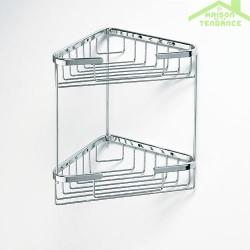 Porte-savon grille triangle double CYTRO en chrome 20x20x34cm