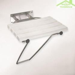 Siège de douche rabattable avec jambe de sécurité en acier inoxydable brillant