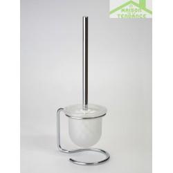 Brosse blanche ou noire de toilettes NEO, bol en verre  40x11x13cm