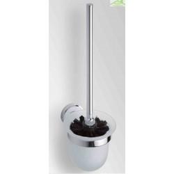 Brosse blanche ou noire murale de toilettes NEO, bol en verre  32,5x14,5x11,5cm