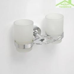 Porte brosse à dents et porte-verre mural double BETA avec les verres 19x9,5x12,5cm