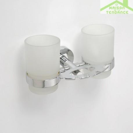Porte brosse dents et porte verre mural double omega avec les verres 19x9 5x12 5cm - Porte brosse a dent mural ...