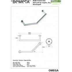 Barre de maintien coudée OMEGA en chrome 40x25x8cm