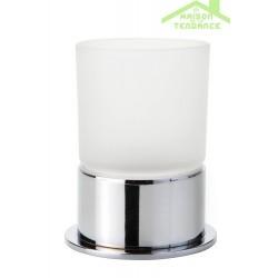 Porte-verre OMEGA en chrome + verre 7x9,5x10,5cm