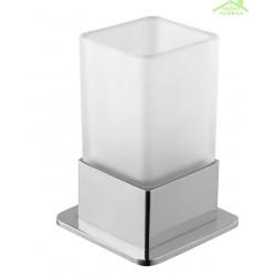 Porte-verre en chrome avec le verre 11x6x11 cm