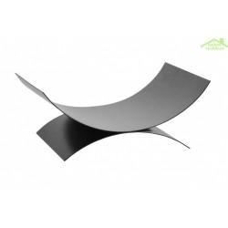 Porte bûches demi-lune en acier  noir 44x28x17cm