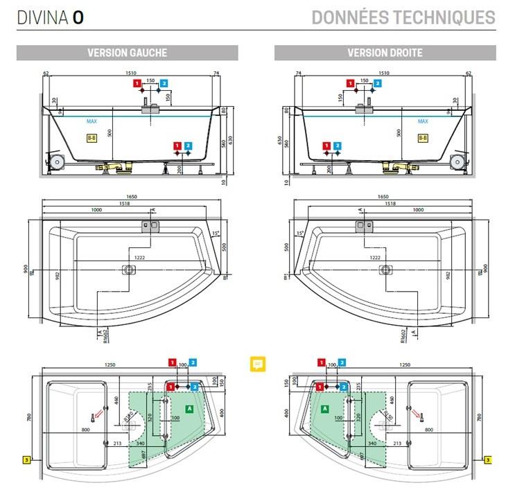 Baignoire D Angle Acrylique Novellini Divina O 165x94 Cm